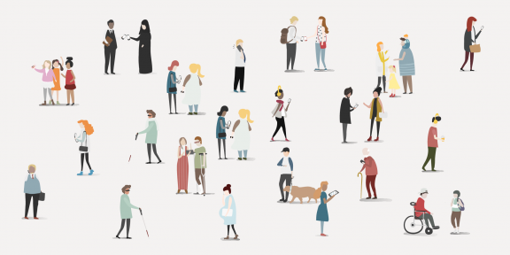 graphic of multiple people with different backgrounds and abilities overlapping
